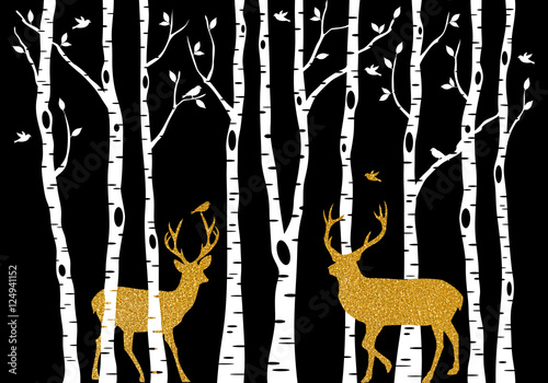 birch-trees-with-gold-christmas-deer-vector