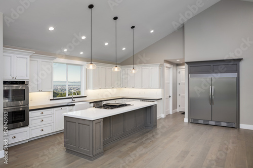 Amazing new contemporary with large white Kitchen with ...