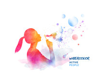 Watercolor Girl Blowing Bubbles