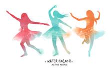 Watercolor Ballet Dancer Silho...