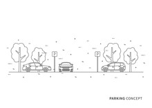 Parking Vector Illustration. Parking Lot Creative Concept. Parking Zone With Cars, Trees And Parking Road Signs Graphic Design.