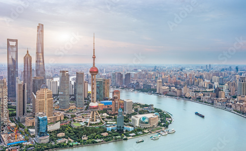 Aerial view of Shanghai skyline of China. Wallpaper Mural