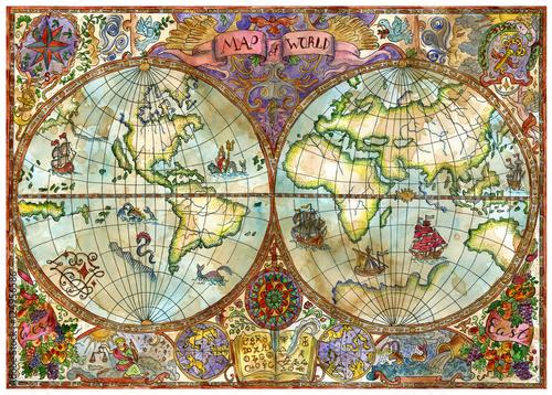 Fototapeta mapa świata na starym papierze