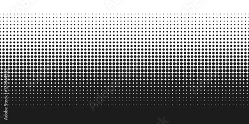 Fotografía  Dotted gradient vector illustration, white and black halftone background, horizo
