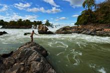 Khone Phapheng Falls On Beautiful Sky, Laos
