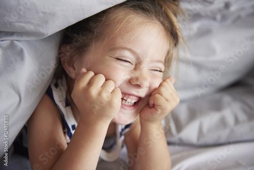 Fotografie, Obraz  Funny girl in the bed.