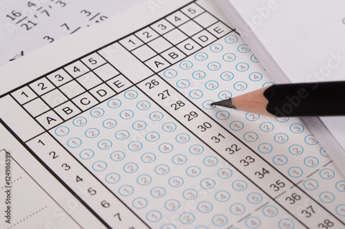Standard test form or answer sheet  Answer sheet focus on pencil