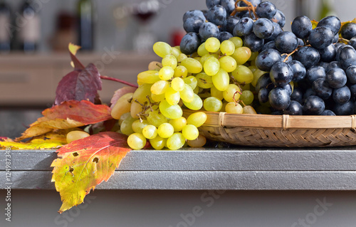 Fotografia  Blue and white grapes