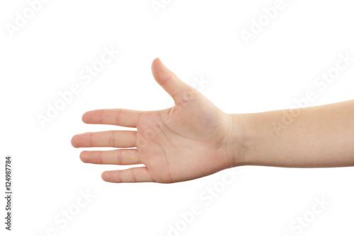 Valokuva  Hand einer jungen Frau mit offener Handfläche