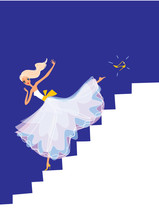 Cinderella Running Down The Stairs. Vector Illustration