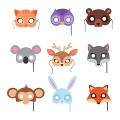 Cartoon animal party mask vector.