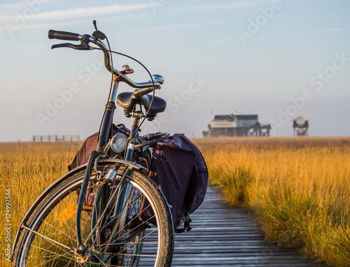 Spoed Foto op Canvas Noordzee Fahrrad auf dem Strandweg an der Nordsee
