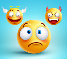 Funny Smiley Vector Character Thinking Choice Between Good Angel And Bad Demon About Decision. Vector Illustration.