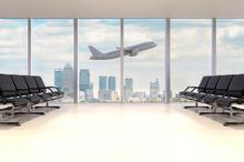 Flughafen Wartehalle Mit Flugzeug Und Skyline
