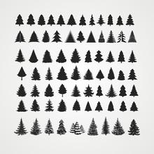 Christmas Tree Silhouette Design Vector Set