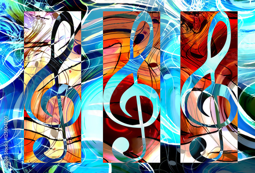 abstract set of music clefs and lines with notes, music theme graphic collage. - 125004300