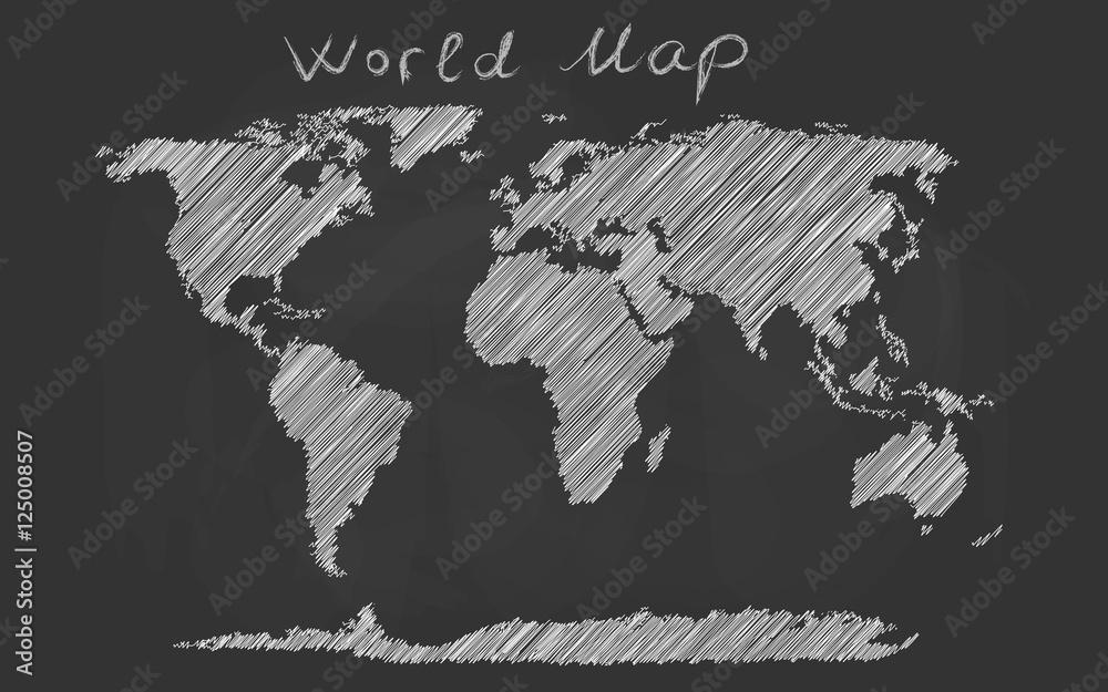 Fotografía  World map hand drawn chalk sketch on a blackboard