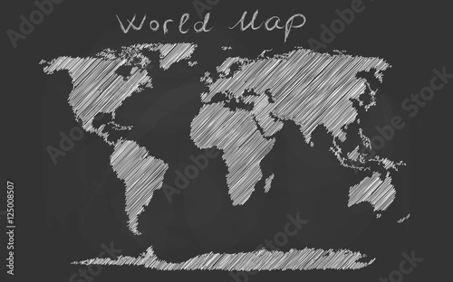 Fototapeta  World map hand drawn chalk sketch on a blackboard