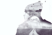 Double Exposure Of Young Think...