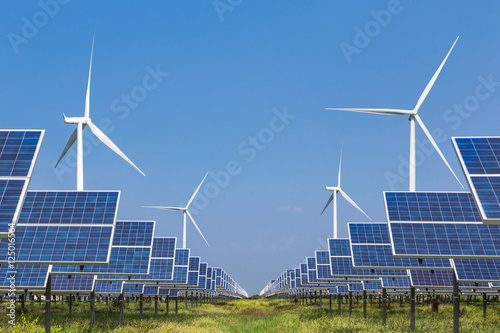 Fotografia  photovoltaics  solar panel and wind turbines generating electricity i