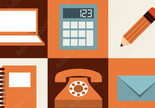 Charmant Modern And Retro Tech And Office Supplies Icon Set