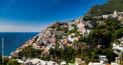 beautiful landscape view of the Positano Amalfi Coast, sea and mountains . Italy