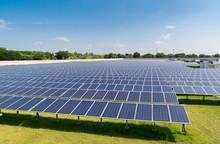 Solar Panels Under Sunlight In...