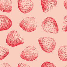 Strawberries Seamless Pattern In Pale Colors. Vector Illustration
