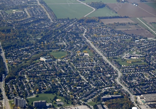 aerial view of  the Cundles neighborhood in Barrie, Ontario, Canada Canvas Print