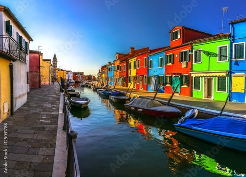 Poster Channel Italy beauty, morning atmosphere of canal street on Burano island, Venice , Venezia