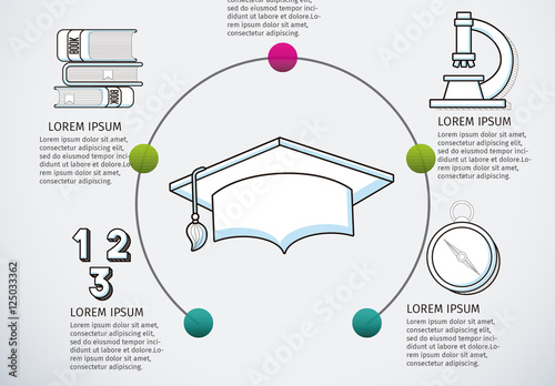 education infographic with half circle illustration element and hand