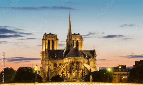 Staande foto Monument The Notre Dame cathedral in evening, Paris, France.
