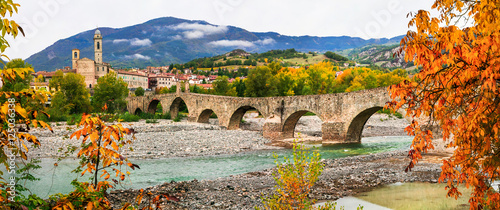 Bobbio - beautiful ancient town with impressive roman bridge, Italy Canvas Print