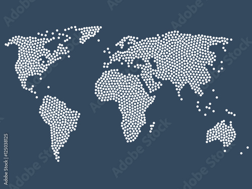 Dotted world map, stock vector Canvas Print