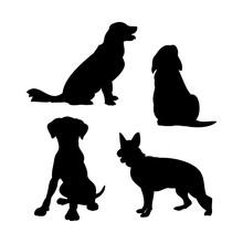 Dog Silhouette Set Vector