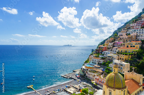 Foto auf AluDibond Neapel colorful view on Positano town on Amalfi coast, Italy