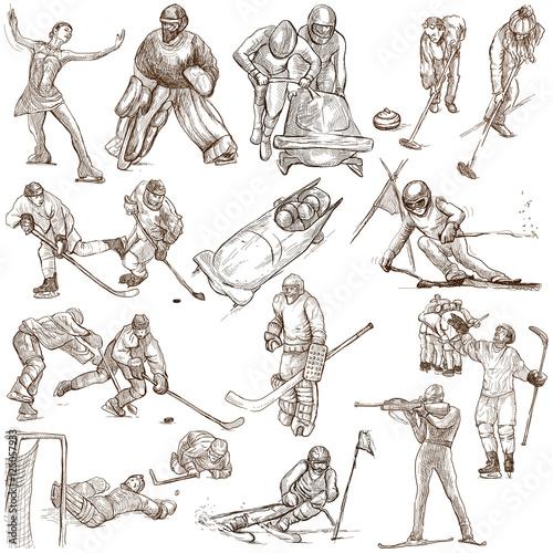 Poster Wintersporten Winter Sports - An hand drawn collection