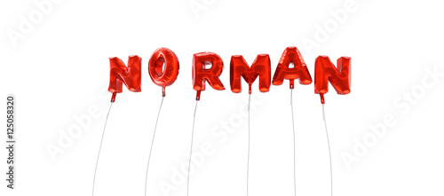 Photo NORMAN - word made from red foil balloons - 3D rendered