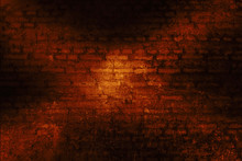 Light Painted Red Cross Sign On Old Grunge Brick Wall.