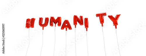 Fotografie, Obraz  HUMANITY - word made from red foil balloons - 3D rendered