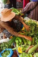 Selling Green Vegetables And Banana Flower Pod