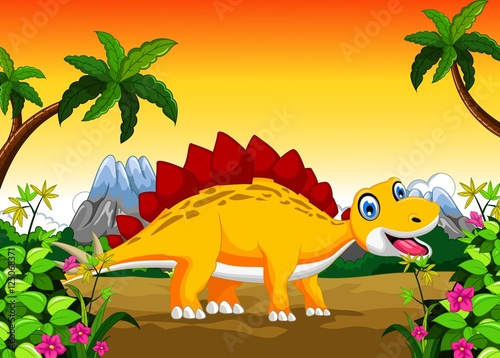 Tuinposter Dinosaurs Cute dinosaur cartoon in the jungle