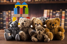 Group Of Cute Teddy Bears On Vintage Wooden Background
