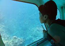 Woman Sit In Glass Bottom Boat