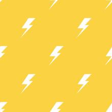 White Lightnings Yellow Vector Seamless Pattern