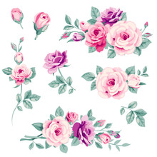 Set Of Pink Decorative Roses. ...