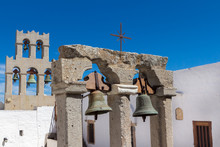 Focus On The Foreground Bell Tower In The Monastery Of St John O
