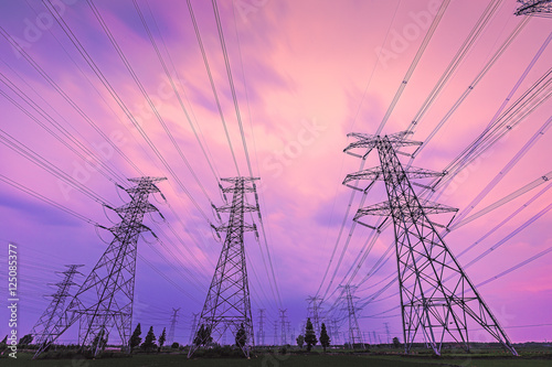 Foto op Canvas Candy roze High voltage power tower beautiful scenery at dusk