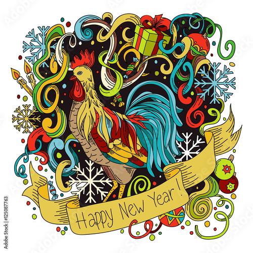 Fototapeta Symbol of chinese new year rooster. obraz na płótnie