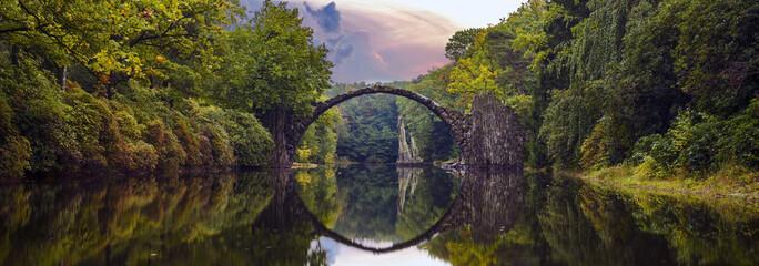 Devil's bridge in the park Kromlau, Germany